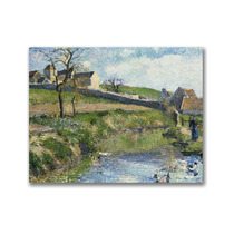 The Farm At Osny Canvas Art By Camille Pissaro, 47 X35
