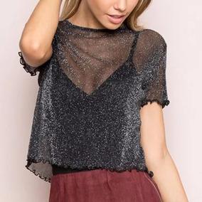Blusa Tule Da Moda Transparente E Brilho Instagram Blogueira