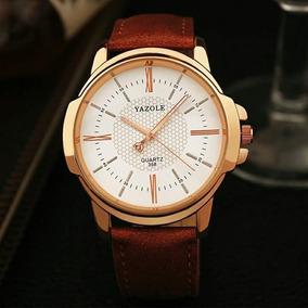 Relógio Masculino Original Pulseira De Couro Yazole