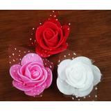 50 Rosas + Rendas D Eva Mini Rosinhas Enfeites Lembrancinhas