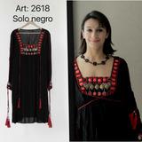 Vestido De Algodon Piedras Rojas Hippie Style T/grandes 2618