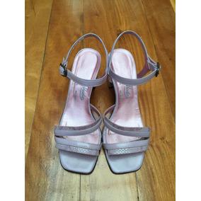 Sandalias De Cuero Color Lila Para Dama