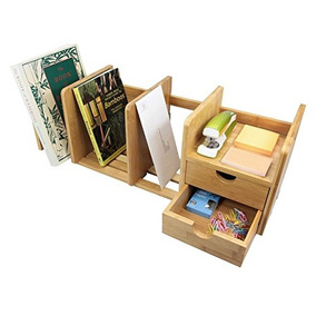 Organizador De Bambú Escritorio Con 2 Cajones Para Office /