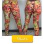Pantalon Leggins Licras Estampado Flores Talla M Mor-10l