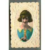 Hermosa Antigua Tarjeta Postal Mujer Relieve Foto Francia