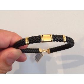 Pulseira Bracelete Masculina De Ouro 18k 750 Couro