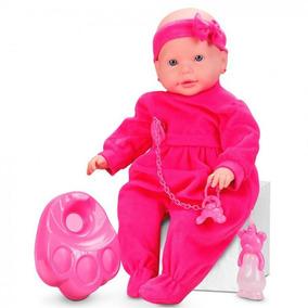 abb12cf475 Boneca Bebe Mini Mania Xixi Branca Com Mamadeira E Chupeta