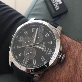 Relógio Novo Festina 45mm Masc Pulseira Couro Preto - F16585