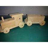 Tren Locomotora Y Vagón En Fibro Fácil Para Pintar