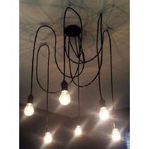 Luminária Lustre Pendente Cascata Luz Iluminação E27 Preta *