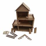 Mini Casa- Polly- Brinquedo- Mdf Cru Mod1 30cm