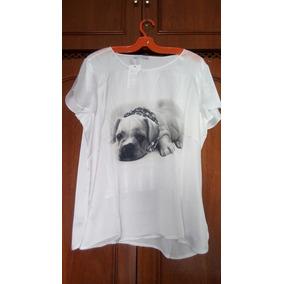 Blusa Leve Para O Verão Com Desenho De Cachorro - 48 Ou Gg