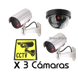Sistema De Vigilancia X 3 Camaras De Seguridad Falsa Con Led