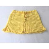 Saia Infantil Em Crochê Amarela Tam.2/4anos
