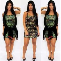 Vestido Feminino Camuflado Militar Costa Nua Lançamento