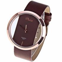 Reloj Dama Dalas Excelente Moderno Diseño Correa Piel Cafe