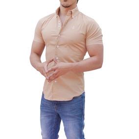 Camisa Beige Manga Corta John Leopard Slim Fit Envio Gratis