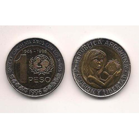 Moneda 1 Peso Unicef Bimetalica Año 1996 Sin Circular