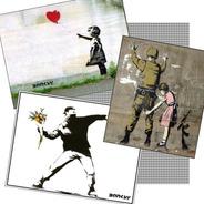 03 Posters Banksy Decoração Moderna Arte Urbana Grafite