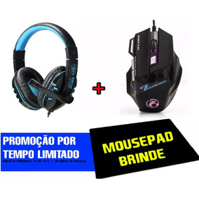 Kit Mouse Gamer Usb + Mouse Pad+ Fone Ouvido Headset Pc