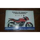 Bajaj Guerrero Rouser 220 S Manual Garantia Y Mantenimiento