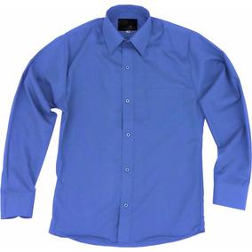 Camisa Vestir Adulto Azul Francia Tallas Extras 44 46 48 50