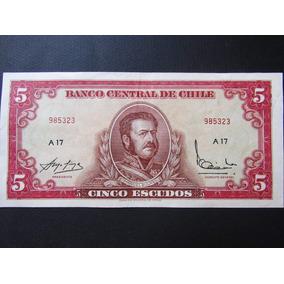 Cédula Antiga Do Chile Nota 5 Escudos Mbc 985323 A17 Lote 48