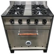 Cocina Industrial Eg 4 H 80 Cm Acero Horno Pizzero E.gratis
