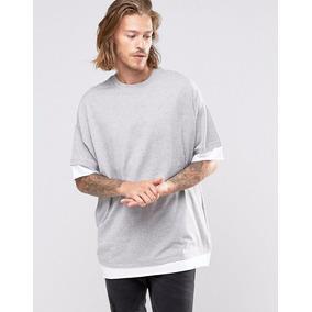 Camiseta Masculina Longline Overzied Swag Blusa Camisa Lisa