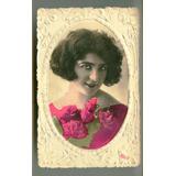 Hermosa Antigua Tarjeta Postal Mujer Relieve Origen Italia