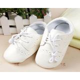 Zapatos Para Bebé Hombre Blanco Bautizo Fiesta No Caminante