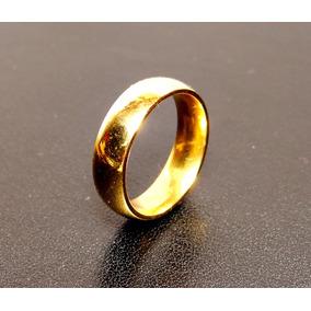 Anel Aliança Compromisso Dourada De Aço Inox Unissex 5.5mm