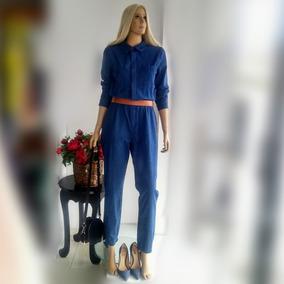 Macacão Jeans Feminino Longo Elegante Tam M/40 Tecido Leve