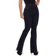 Calça Jeans Flare Feminina Sawary Super Lipo Black Blue