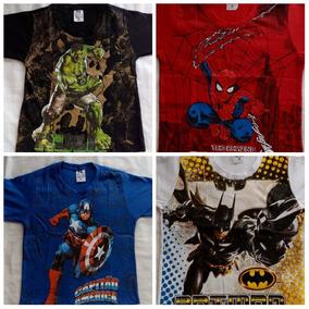 Kit Atacado C/7 Pçs Camiseta Infantil Menino Personagens