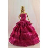 Precioso Vestido De Fiesta Largo Para Barbie Y Zapatos