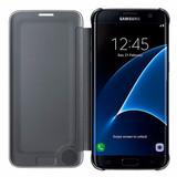 Estuche Forro Samsung S7 Edge Clear View Cover Negro