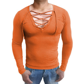 Camisa Masculina Slim Gola V Com Cordão Blusa Manga Longa