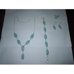Precioso Conjunto Collar-pulsera-aros-anillo Plata Y Larimar