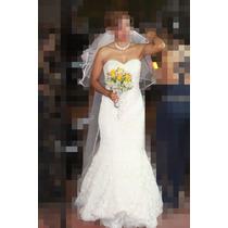 Vestido De Novia Modelo Sirena Straple Talla 28-30-32(5 7 9)