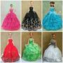 Vestido Festa Roupinhas Para Boneca Barbie + Sapato + Colar