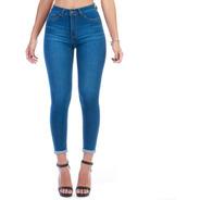 Pantalón Jeans Mezclilla Stretch Dama Dobladillo En Tobillos