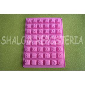 *molde Silicon Cuadros Abecedario Numeros Signos Chocolate