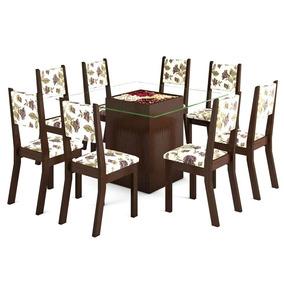Mesa De Jantar Viero Begônia Com 8 Cadeiras Fit