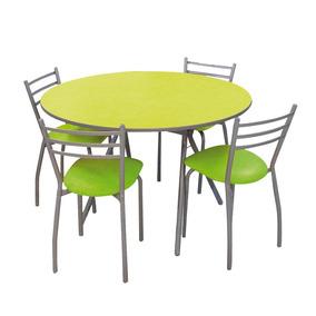 Juego De Cocina Mirage Mesa Redonda Verde + 4 Sillas Sidal