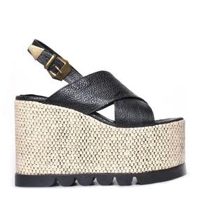 Plataforma Sandalia Alta Forrada Cuero Caviar Verano 2016