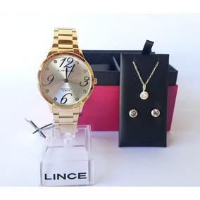Relógio Lince Feminino Dourado Lrgh074l Kit Colar E Brincos