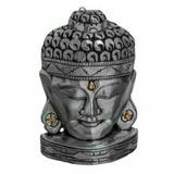 Máscara Indiana Buda De Parede/mesa Em Gesso Pintado A Mão
