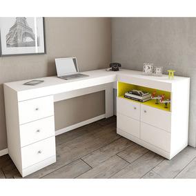 Mesa Para Computador Byte Canto 2 Portas 3 Gavetas Caemmun