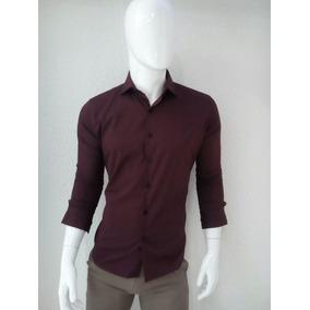 Camisa De Vestir Para Caballero Color Vino